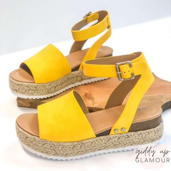 Power Strut Platform Espadrille Sandals in Yellow