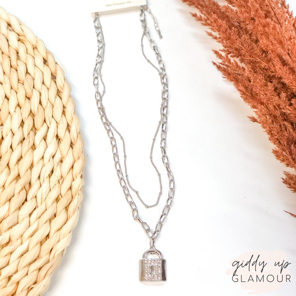 Locks of Love Layered Padlock Chain Necklace in Silver