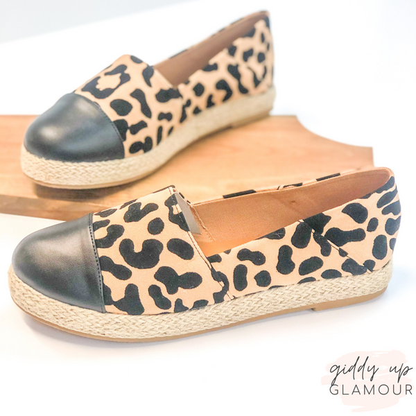 Purr-suade You Slip On Espadrilles with Black Toe in Leopard