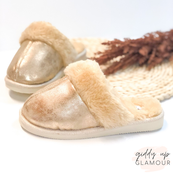 Corky's | Hitting Snooze Slide On Slippers with Furry Lining in Gold