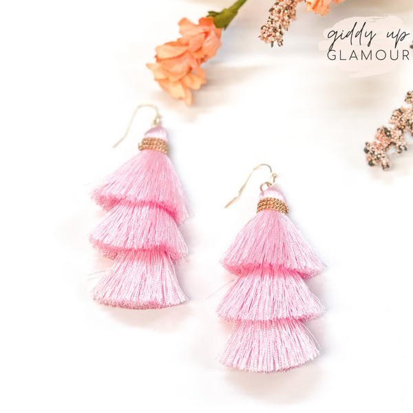 Three Tiered Tassel Earrings in Pastel Pink
