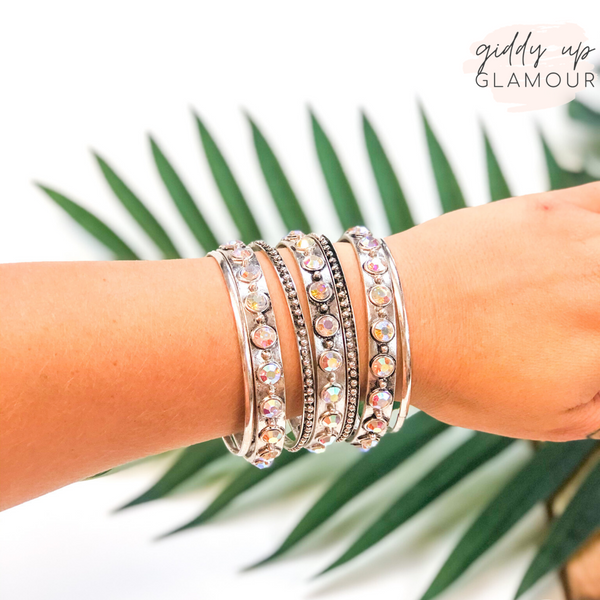 Set of Seven | Solid and Ab Crystal Bangles in Silver