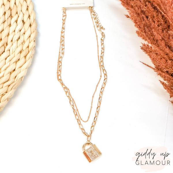 Locks of Love Layered Padlock Chain Necklace in Gold