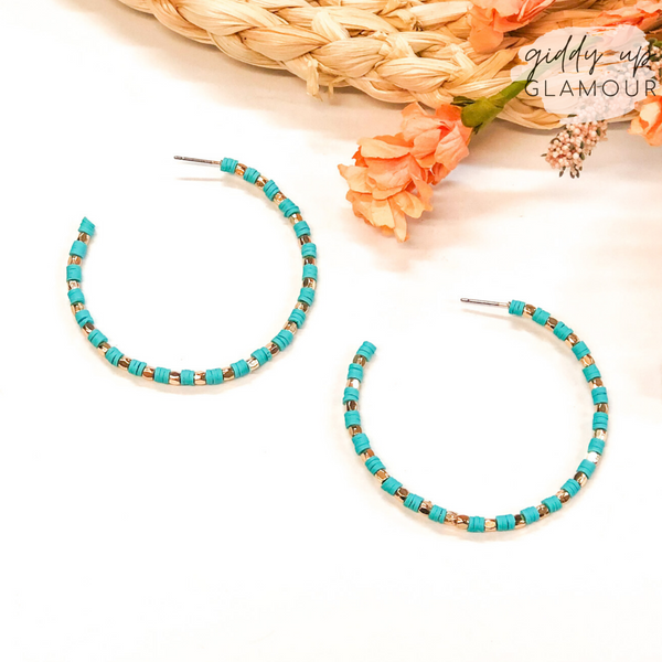 Disc Beaded Hoop Earrings with Gold Spacers in Turquoise