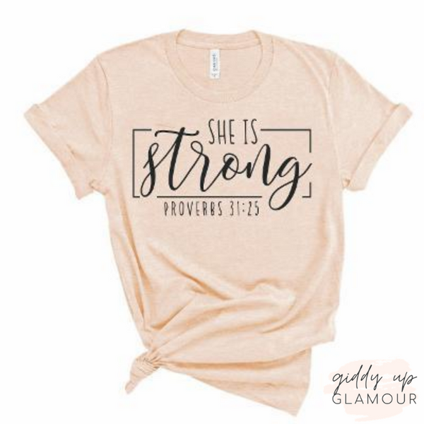 Pre-Order | She is Strong Proverb's 31:25 Tee Shirt in Blush Pink