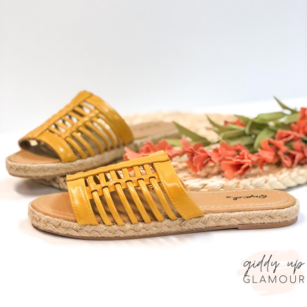 Caught In the Sun Slide On Espadrille Sandals in Yellow