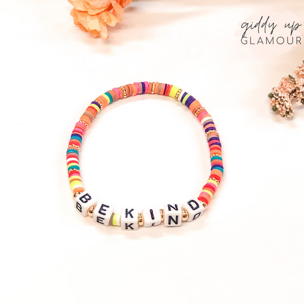 Be Kind Friendship Bracelet with Disc Beads in Multi