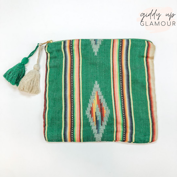 Judith March | Aztec Serape Cosmetic Bag with Tassel Zipper in Green