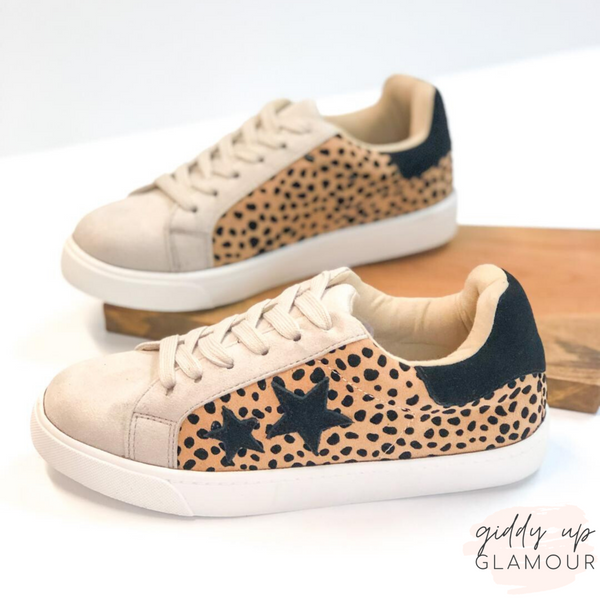 Playful Attention Lace Up Sneakers with Black Stars in Leopard