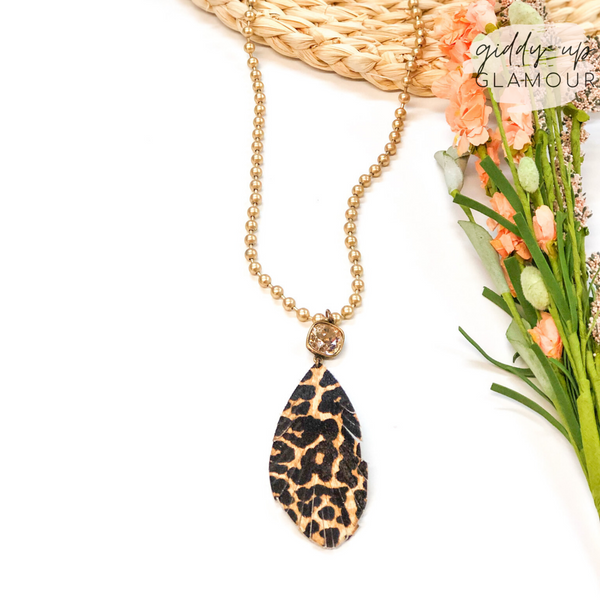 Pink Panache | Gold Beaded Necklace with Light Silk Cushion Cut Crystal and Leopard Feather