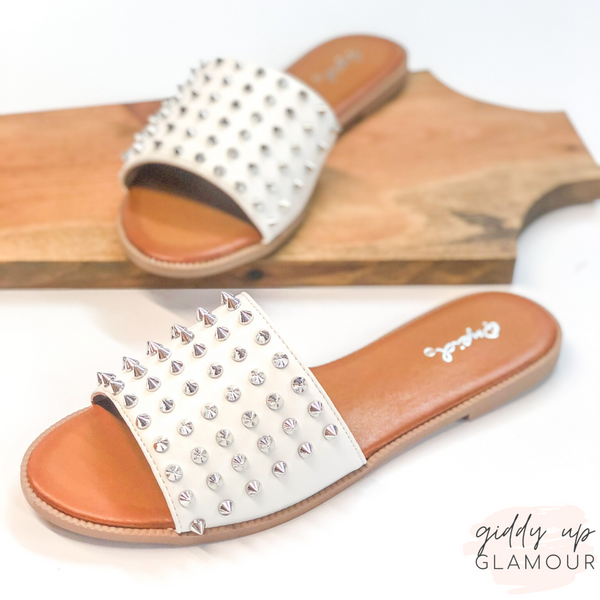 City Girl Silver Spike Embellished Slide On Sandal in White