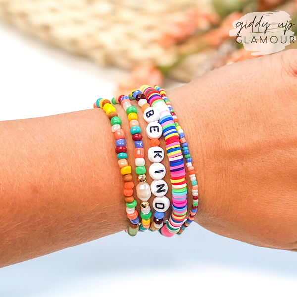 Set of Five | Be Kind Crystal and Disc Beaded Bracelet Set in Multi