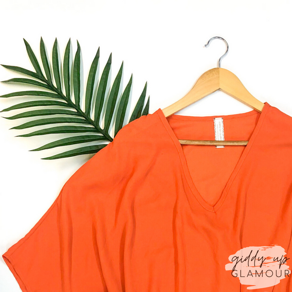 On The Line Sheer Oversized Poncho Top in Orange