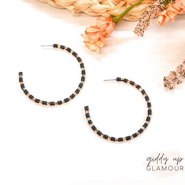 Disc Beaded Hoop Earrings with Gold Spacers in Black
