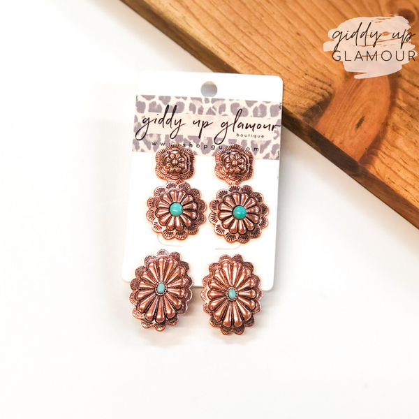 Set of Three | Concho Earring Set with Turquoise Stones in Copper