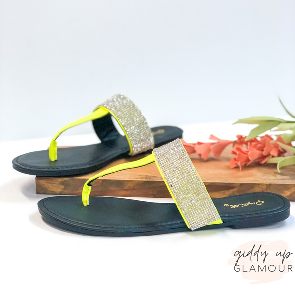 Constant Magic Sandals with Crystal Detailing in Neon Yellow