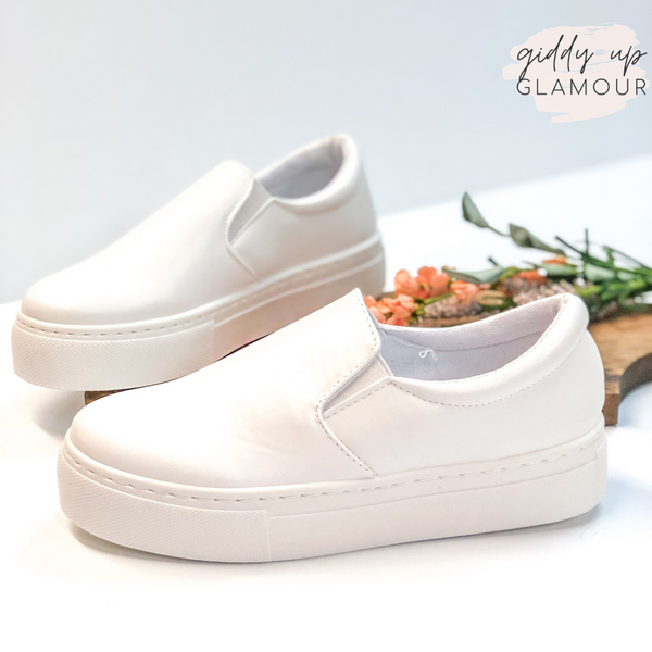 Going For Now Step In Flatform Sneakers in White
