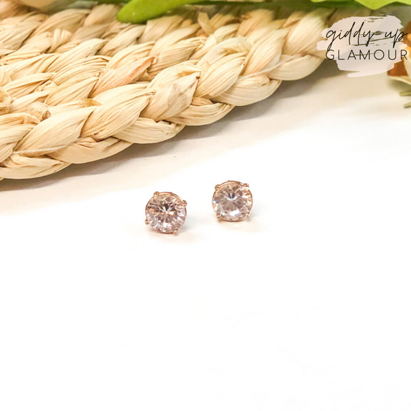 Circular CZ Stud Earrings in Gold Setting