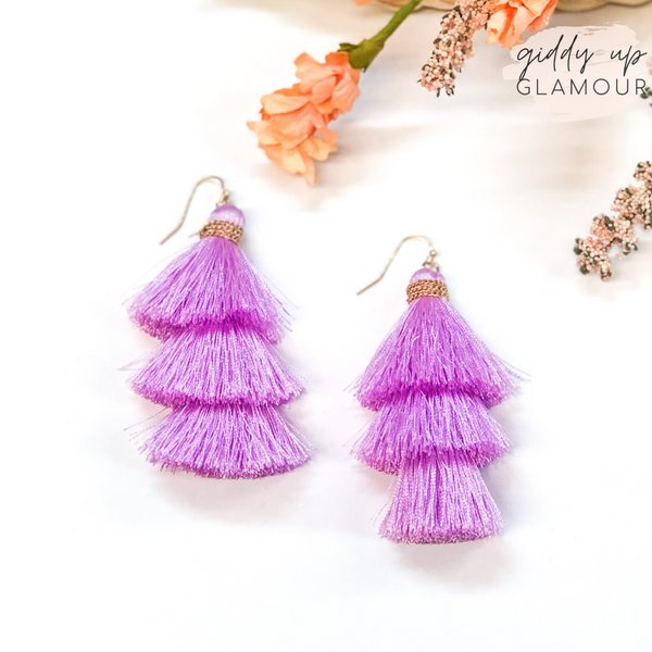 Three Tiered Tassel Earrings in Lilac