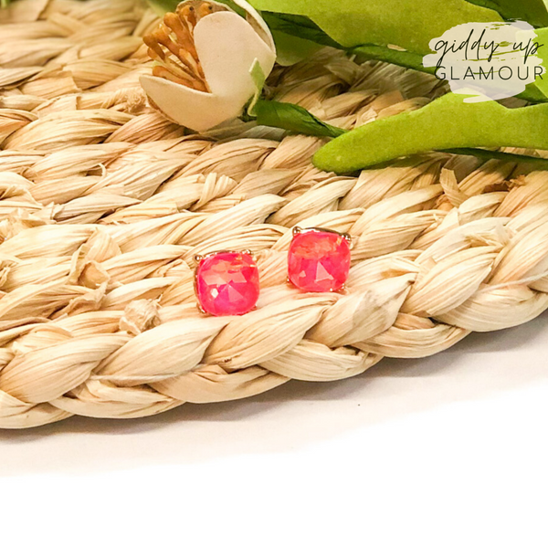 Cushion Crystal Stud Earrings in Pink AB