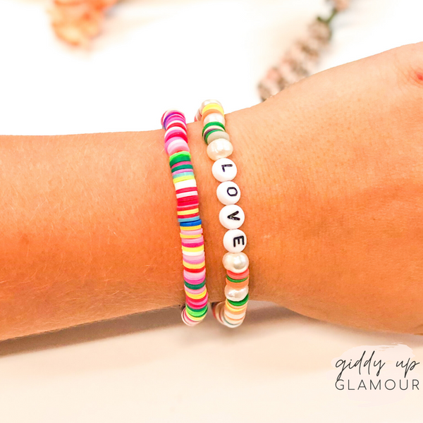 Set of Two | Love Disc Beaded Bracelet Set with Pearls in Multi