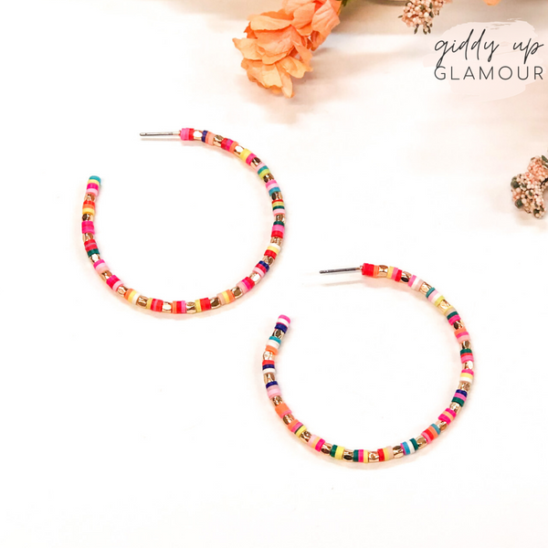 Disc Beaded Hoop Earrings with Gold Spacers in Multi