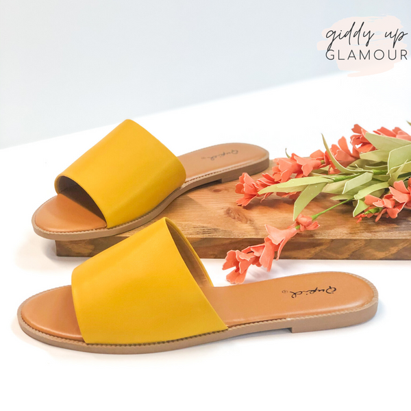 Beach Babe Slide On Sandals in Mustard Yellow