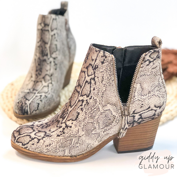 Corky's | Tombstone Heeled Zipper Booties in Black Snake
