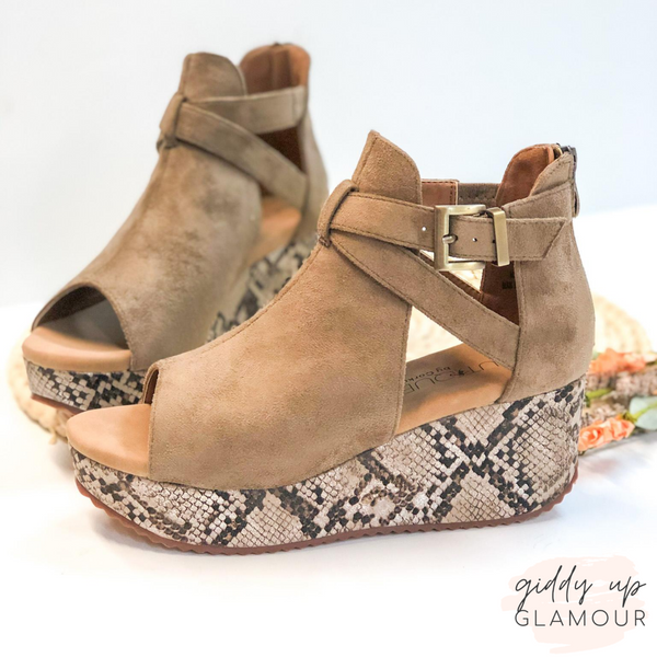 Corky's | Already Packed Suede Ankle Buckle Wedges in Taupe Snakeskin