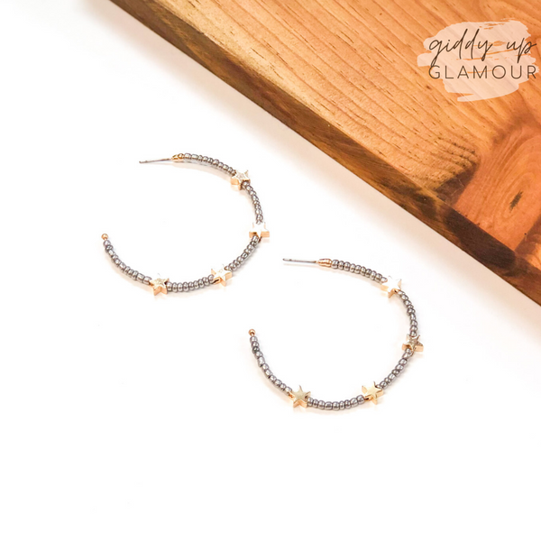 Lucky Stars Beaded Hoop Earrings with Gold Stars in Silver