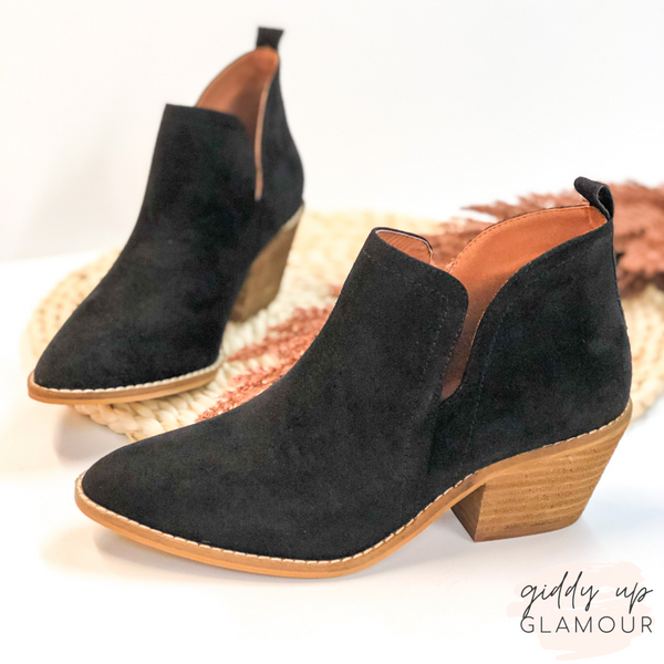Corky's | Time To Go Ankle Slit Slide In Booties in Black