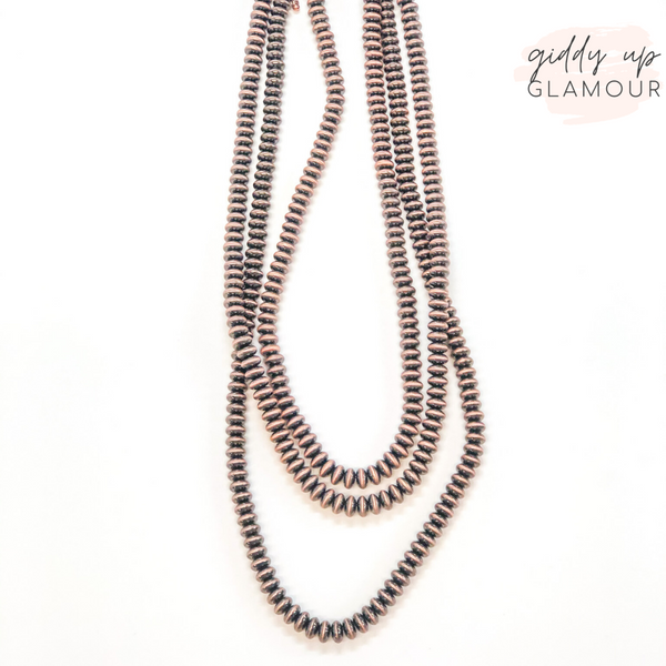 Three Strand Disc Beaded Navajo Pearl Necklace in Copper