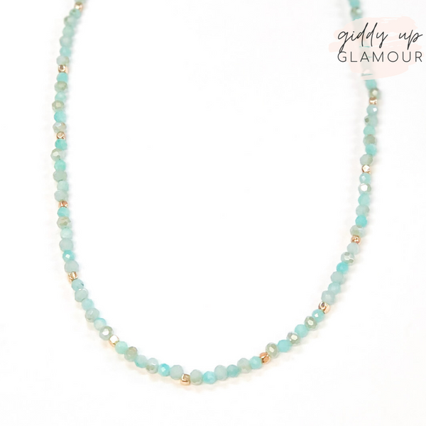 Crystal Beaded Choker Necklace in Mint