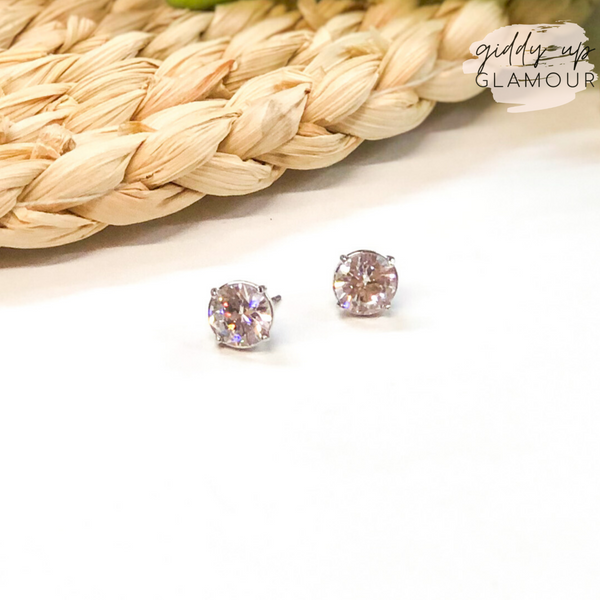 Circular CZ Stud Earrings in Silver Setting