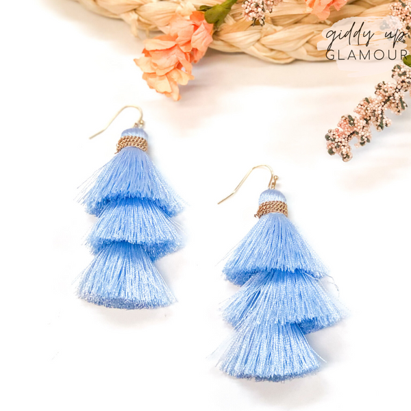 Three Tiered Tassel Earrings in Baby Blue
