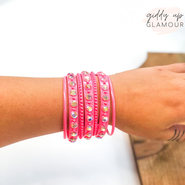 Set of Seven | Solid and AB Crystal Bangles in Neon Pink