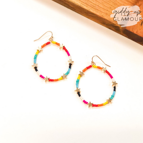 Written in the Stars Beaded Hoop Earrings with Gold Stars in Multi