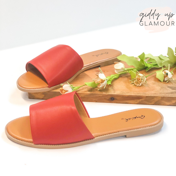 Beach Babe Slide On Sandals in Brick Red
