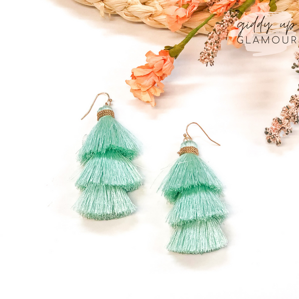Three Tiered Tassel Earrings in Mint Green