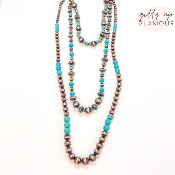 Set of Three | Multi Shape Navajo Pearl and Turquoise Beaded Necklace in Copper