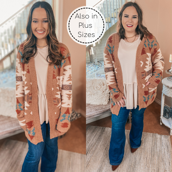 Snuggles in Sheridan Aztec Print Open Front Cardigan in Tan