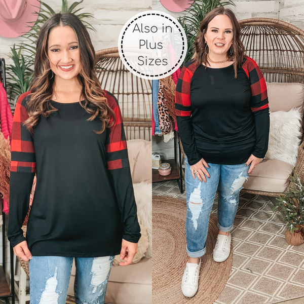 PINK FRIDAY | Back Again Long Sleeve Pullover Top with Buffalo Plaid Varsity Stripe Shoulder in Black