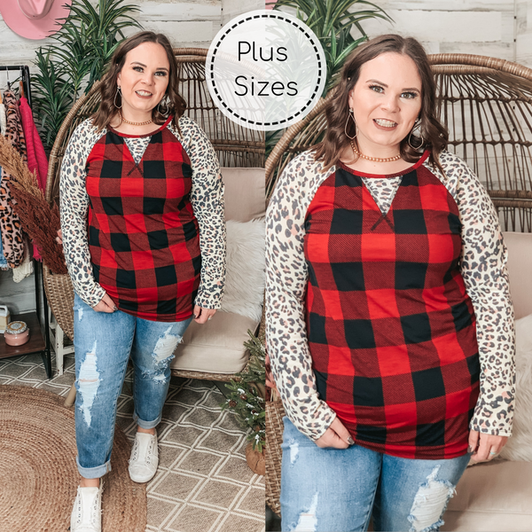 PINK FRIDAY | Plus Sizes | Top It Off Red Buffalo Plaid Top with Ivory Leopard Sleeves