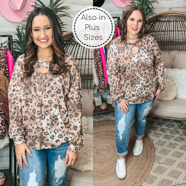 PINK FRIDAY | Getting Lost Caged Neck Long Sleeve Leopard Tie Dye Top in Brown