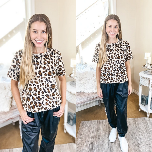 Out In The Wild Faux Fur Short Sleeve Crop Top in Leopard