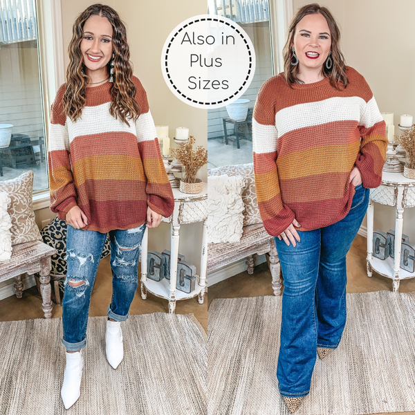Choosing Cozy Striped Long Sleeve Bubble Sleeve Sweater in Rust Mix