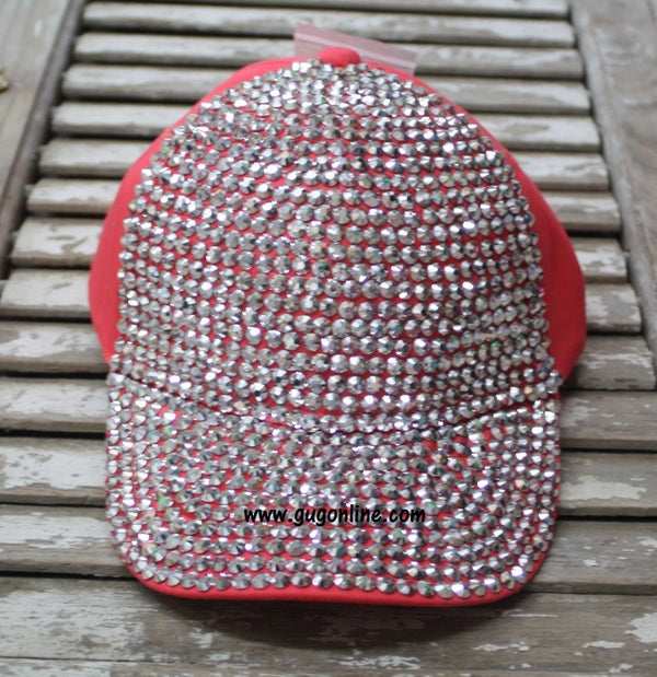 Coral Baseball Cap with Solid Bling Crystals