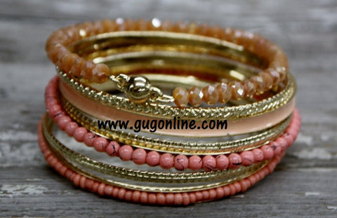 Coral Crystal Bangle Set