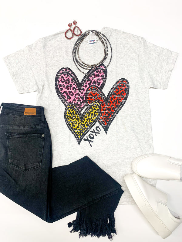 Youth | Wild Hearts Leopard Multi Hearts Graphic Tee in Heather Grey
