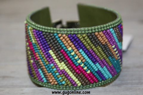 Gypsy Soule Green, Purple, and Creme Tone Beaded Bracelet